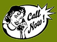 Call Now Graphic with Retro Woman Calling Mom's Table home cooking to go on the phone
